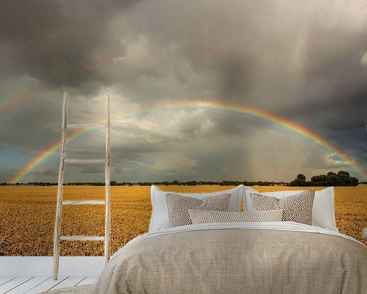 Sfeerimpressie behang: Regenboog over het veld van Frank Herrmann