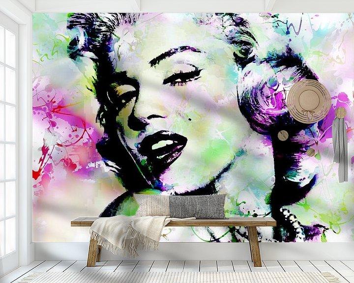 Beispiel fototapete: Marilyn Monroe Abstrakte Pop Art Rosa Grün von Art By Dominic