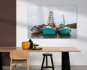 Kleurrijke bootjes in Vietnam! van Karlijne Geudens