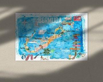 Bermuda reizen poster favorieten toeristische kaart hoogtepunten van Markus Bleichner