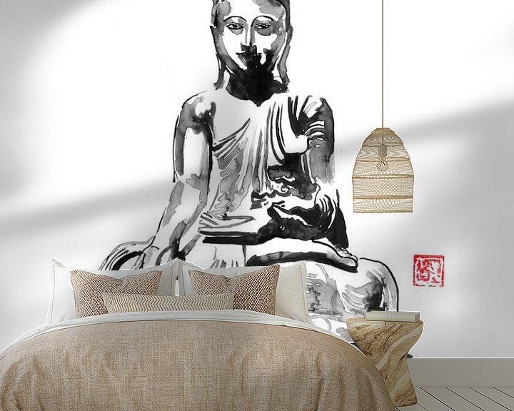 Sfeerimpressie behang: Boeddha van Péchane Sumie