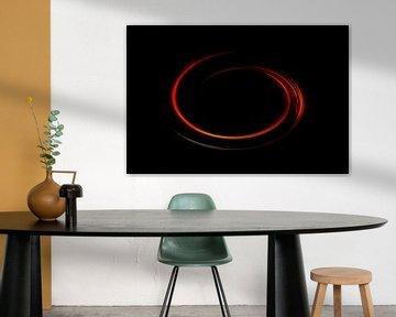 Abstracte rode cirkelvormige lijnen tegen een zwarte achtergrond van Joachim Küster