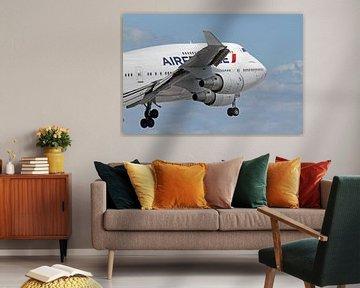 Boeing 747 van Air France tijdens landing in Miami van Ramon Berk