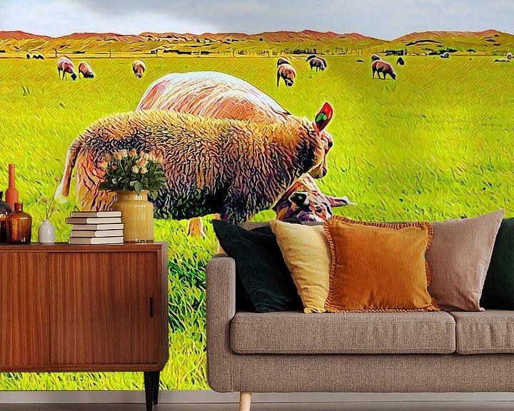 Beispiel fototapete: Zwei Texeler Schafe von Digital Art Nederland