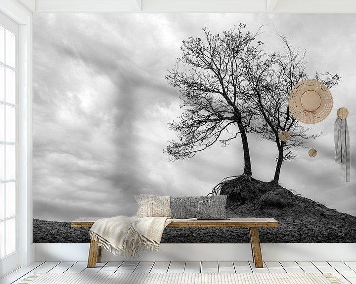 Beispiel fototapete: Minimalismus der Bäume als Landschaft in Schwarz-Weiß von Steven Dijkshoorn