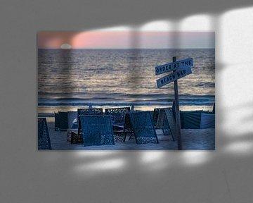 blauwe uurtje aan het strand van Noordwijk