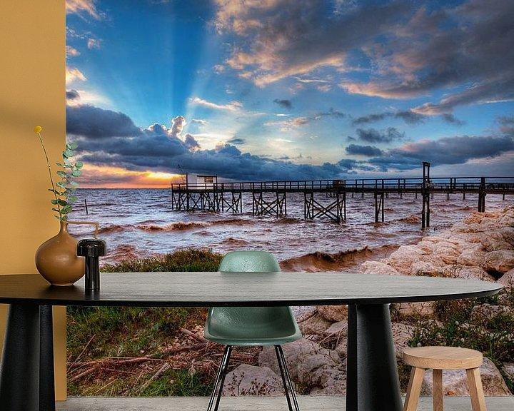 Impression: Frans visserhuisje (carrelet) bij zonsondergang aan de Gironde. sur Tammo Strijker