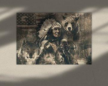 Vintage werk van indianen van Bert Hooijer