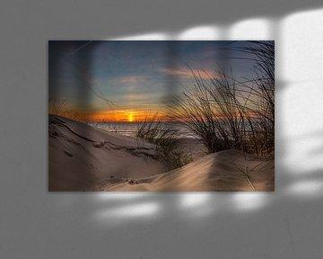 Duinpan paal .. Zonsondergang  Texel van Texel360Fotografie Richard Heerschap