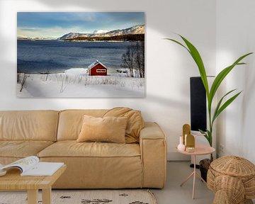 Rood huisje in winter Noorwegen van Adelheid Smitt