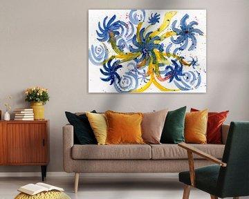 Floral bleu sur Irene Hoekstra