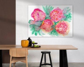Orange florale sur Irene Hoekstra