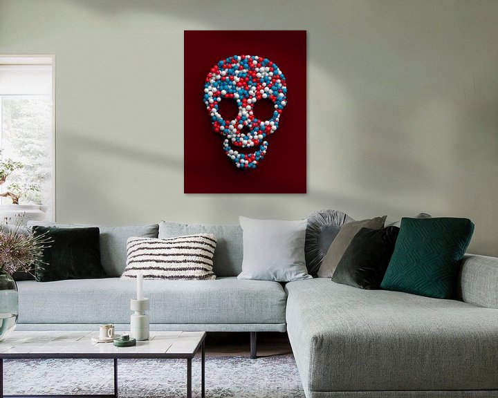 Sfeerimpressie: Grappige schedel gemaakt van gekleurde ballen van Jörg Hausmann