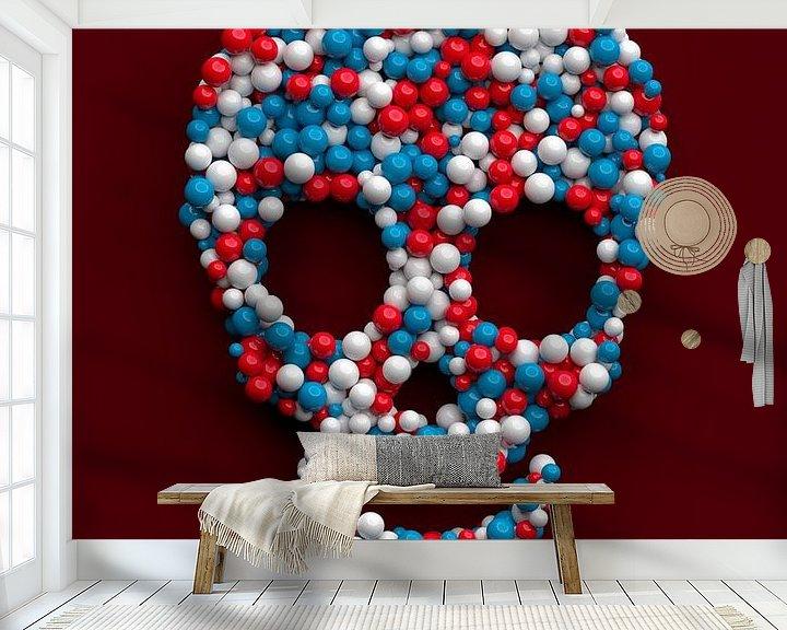 Sfeerimpressie behang: Grappige schedel gemaakt van gekleurde ballen van Jörg Hausmann