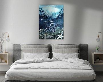 Oktopus mit Fischen von Karin Schwarzgruber