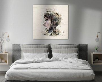 Portret meisje met muts - zijkant gezicht van Emiel de Lange