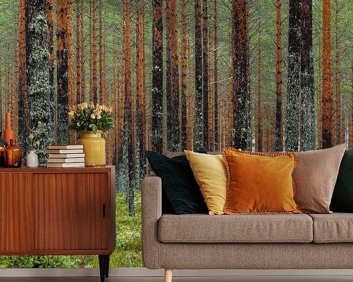 Sfeerimpressie behang: Muur van bomen van Gerry van Roosmalen