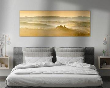 Boerderij Belvedere bij zonsopgang, Toscane, Italië van Markus Lange