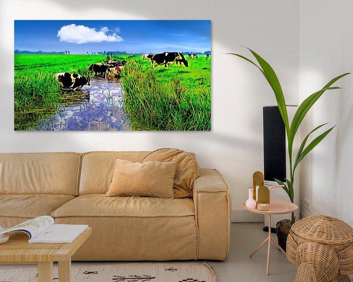 Beispiel: Kühe suchen Kühlung im Graben von Digital Art Nederland