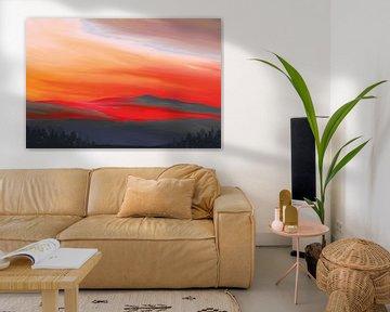 Landschapsschilderij in intense kleuren rood en oranje
