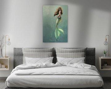 Œuvre d'art numérique d'une sirène sur Emiel de Lange