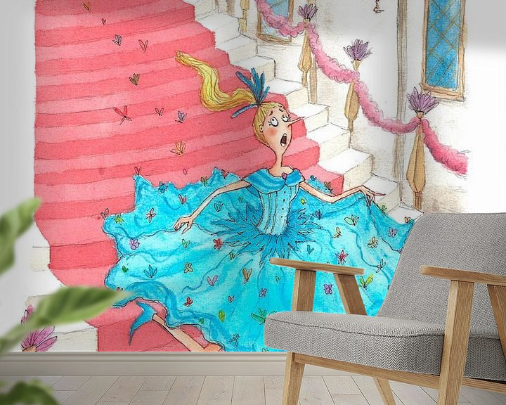Beispiel fototapete: Cinderella - Aquarell-Illustration für Kinder von Mayon Middeljans