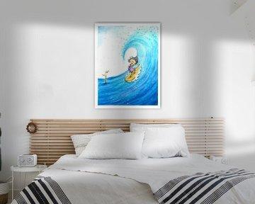 Surfing Girl - Aquarell-Illustration für Kinder von Mayon Middeljans