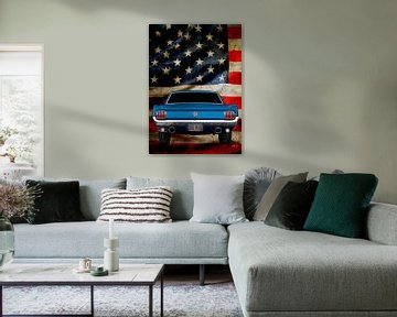 Ford Mustang with stars & stripes von aRi F. Huber