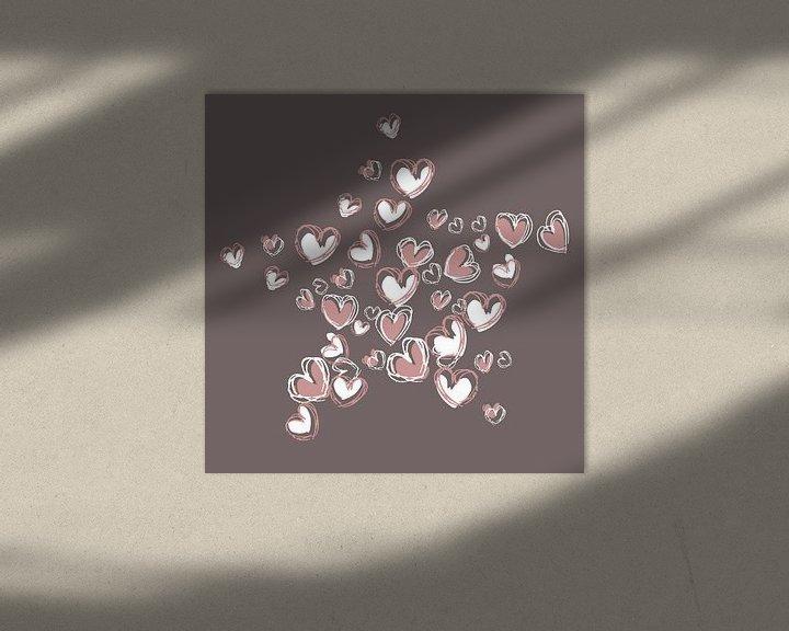 Beispiel: Herzform-Collage-Sternform in rosa und weißer Farbe von Emiel de Lange