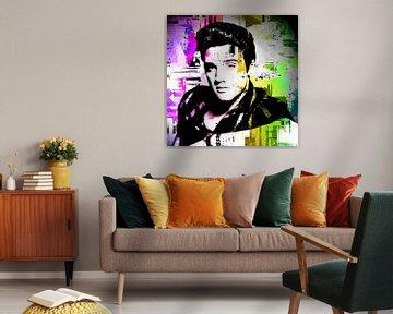 Elvis Presley Abstraktes Pop-Art-Portrait in Rosa Gelb Grün von Art By Dominic