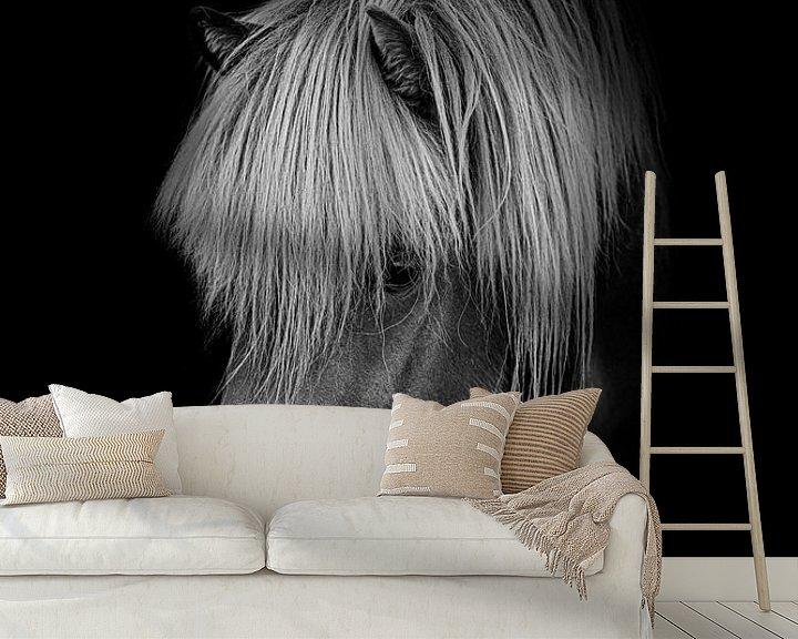 Sfeerimpressie behang: Pony in zwart wit met zwarte achtergrond van Maria-Maaike Dijkstra