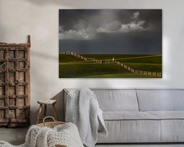 Afscheidingshek op de dijk bij Westhoek, Friesland van Harrie Muis