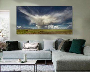Wolkenvorm boven het Friese buitendijkse gebied het Noorderleeg van Harrie Muis