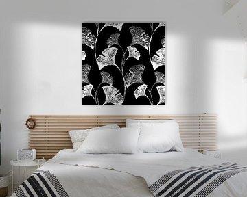 Gingko allover black van Olga Tromp