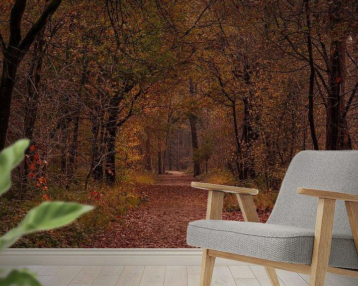 Sfeerimpressie behang: Herfstkleuren in het Mastbos van Ingrid Aanen