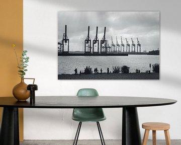 Hamburger Hafen Kräne an der Elbe von Der HanseArt