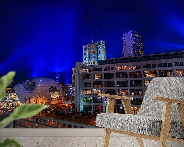 Sfeerimpressie behang: Eindhoven City by lights van Bas Fransen