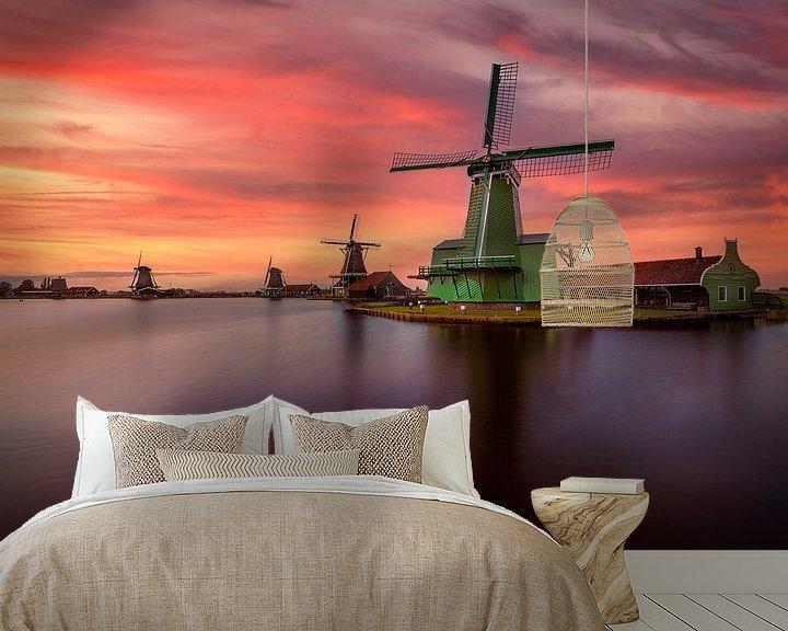 Beispiel fototapete: Ein niederländischer Sonnenuntergang in Zaanse Schans von Costas Ganasos
