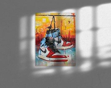 Nike air Jordan 1 Retro High 'fearless unc Chicago' Gemälde von Jos Hoppenbrouwers