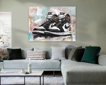 Nike air Jordan 1 Retro Hohe 'Dark Mocha' Gemälde von Jos Hoppenbrouwers