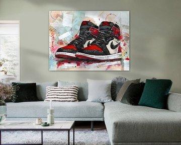 Nike air Jordan 1 Retro High 'bret toe' Gemälde von Jos Hoppenbrouwers