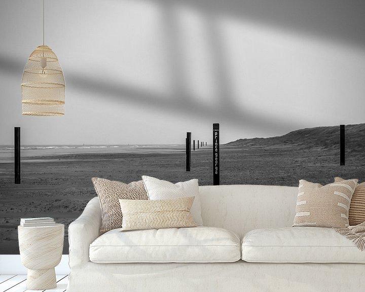 Beispiel fototapete: Schwarze Strandpfosten von Martijn Tilroe