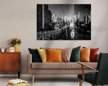 Tussen de wolkenkrabbers van Manhattan (zwart-wit)