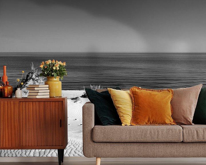 Beispiel fototapete: Dünen und das Meer II, schwarz weiß von Sascha Kilmer
