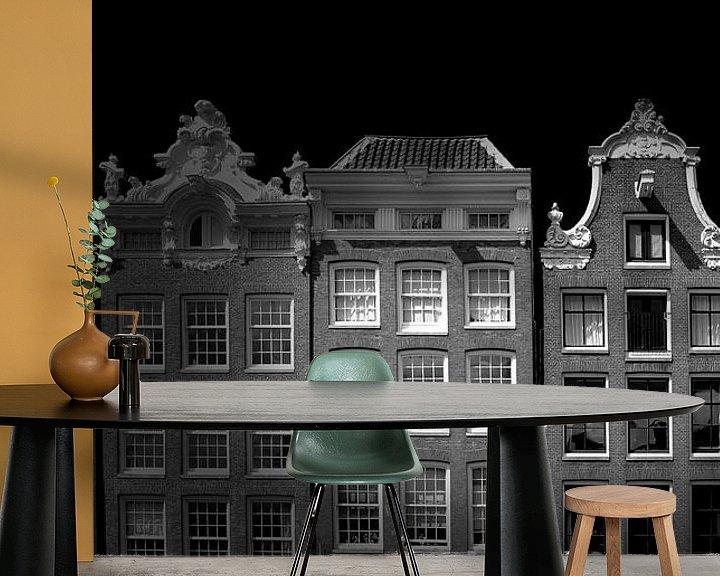 Beispiel fototapete: Amsterdamer Fassade (schwarz-weiß) von Rob Blok