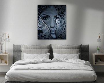 Femme mystérieuse - noir et blanc argent - yeux - peinture sur Marielistic-Art