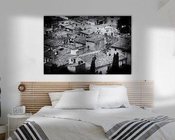 Französische Dächer | Schwarz-Weiß-Foto I Reisefotografie von Diana van Neck Photography