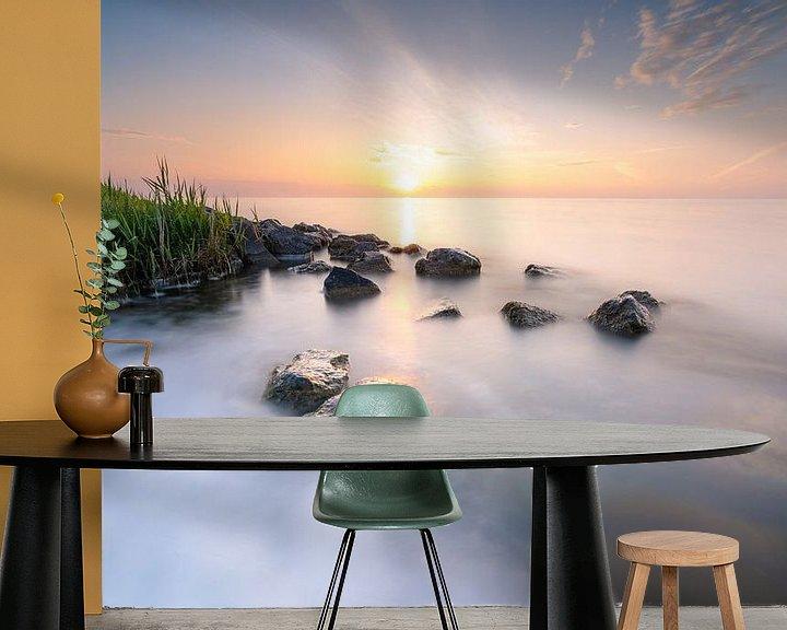 Sfeerimpressie behang: Zonsopkomst boven het Markermeer van Fotografiecor .nl