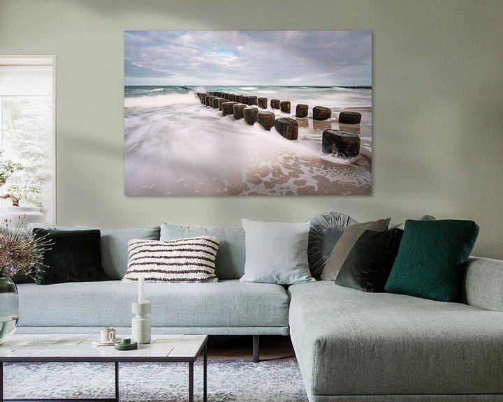 Beispiel: Buhnen an der Küste der Ostsee an einem stürmischen Tag von Rico Ködder