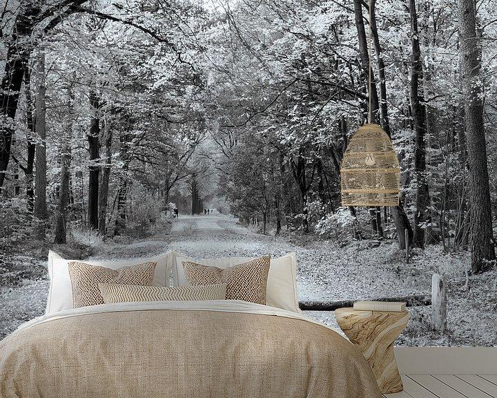 Sfeerimpressie behang: Herfst in zwart wit van Ingrid Aanen